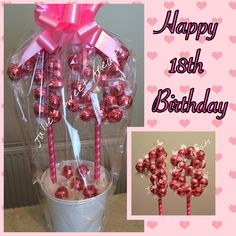 18th birthday tree created using strawberries & cream lindt lindors.