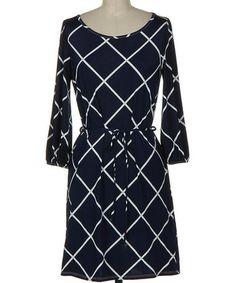 This Navy Lattice Tie-Waist Scoop Neck Dress is perfect! #zulilyfinds
