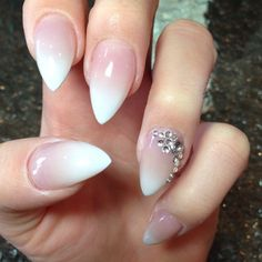 ombre nails with jewls - Google Search
