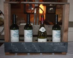 Pallet made wine rack with a blackboard. Nice