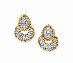 A PAIR OF DIAMOND AND GOLD EAR PENDANTS, BY DAVID WEBB - Each suspending a circular-cut diamond crescent-shaped hoop with 18k gold trim, to the pear-shaped surmount of similar design, mounted in platinum and gold - Signed Webb for David Webb
