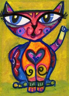 Cat painting to hang on the side of the cabinet above Navajo's food. Pastel Artwork, Cat Colors, Arte Popular, Mexican Folk Art, Chalk Pastels, Art Plastique, Elementary Art, Rock Art, Cat Art