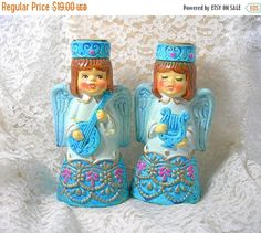 Blue Christmas Angel Candleholders Paper by AtticDustAntiques ***ALSO SEE Vintage Jewelry at: http://MyClassicJewelry.com/shop