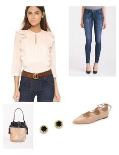 A sweet St. Roche blouse styled in eyelet and detailed with feminine ruffles is the perfect complement to some edgier flats and trendy bag. Weekend look complete!