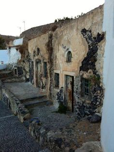 Deserted houses in Vothonas,Santorini