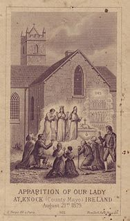 "Our Lady of Knock (Vintage holy card, ""Apparition of Our Lady of Knock (County Mayo) Ireland August Catholic Art, Roman Catholic, Irish Catholic, La Salette, Prayers To Mary, Vintage Holy Cards, Spiritual Images, Lady Of Lourdes, Mama Mary"
