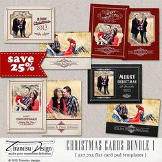 Christmas Card Template, 5x7in 7x5in Photoshop Template, BUNDLE, sku 10-11 by TiramisuDesign on Etsy