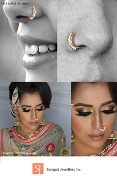 The Minimalist Guide to Finding the Right Nose Rings - Diamond and gold nose ring, Indian, ethic