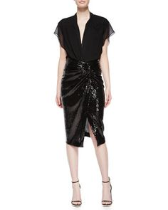 Cap-Sleeve Crepe Georgette Button Blouse & Sequined Twist-Knot Skirt by Donna Karan at Neiman Marcus.
