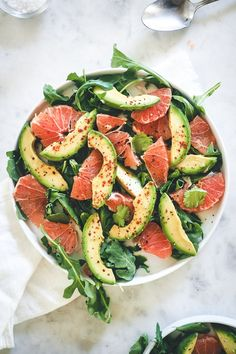 Avocado Grapefruit Salad is an easy healthy dish, perfect for breakfast, lunch or a dinner side. Avocado Grapefruit Salad is an easy healthy dish, perfect for breakfast, lunch or a dinner side. Healthy Dishes, Healthy Salad Recipes, Healthy Snacks, Vegetarian Recipes, Diet Recipes, Vegan Meals, Vegan Vegetarian, Diet Meals, Grapefruit Recipes Healthy