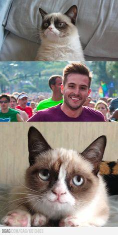 Grumpy cat meets ridiculously photogenic guy.