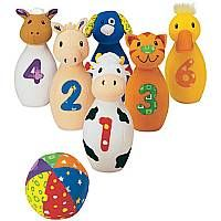 Award winning Baby Farm Friends Bowling is a set of 6 soft fabric, adorable, farm animal bowling pins and a bright multi-patterned ball. Perfect for holding, carrying, hugging and knocking down these animals are numbered from 1-6 with large contrasting fabric numerals.