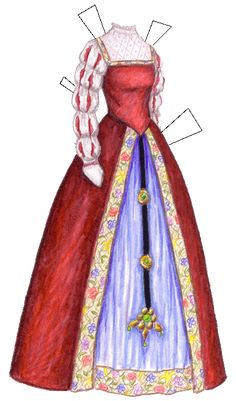 """A French gown from the Renaissance period, around 1500; dress sort of pasted together from descriptions and pictures in Katherine Lester's """"Historic Costume."""""""