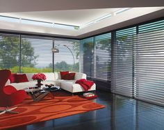 Modern, dramatic, yet functional energy efficient style. Shadings with the look of screen shades, uniquely coupled with the added benefits of enhanced light control and nighttime privacy. Nantucket™ window shades ♦ Hunter Douglas window treatments  #LivingRoom