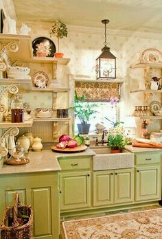 Looking for some great ideas to develop a shabby chic theme inside your new kitchen? Shabby Chic kitchen style has its own origins in traditional English and Cozy Kitchen, Farmhouse Kitchen Decor, New Kitchen, Vintage Kitchen, Kitchen Ideas, Farmhouse Chic, Green Kitchen, Kitchen Country, Kitchen Shelves
