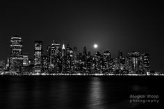 silhouette paintings of nyc skyline | New York City Skyline Night Black And White Image Description