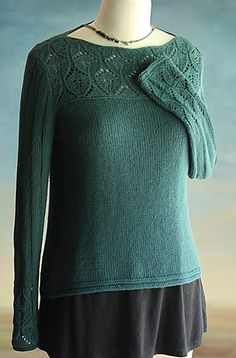 New Knitting Patterns - This elegant pullover featuring lovely lace will ease you into early autumn with grace and style. Knit with 1230 yds of sport-weight yarn using U. Design by Sunday Knits. Sweater Knitting Patterns, Knit Patterns, Diy Pullover, Knitting Projects, Knit Crochet, Sweaters For Women, Knitwear, Ravelry, Boat Neck