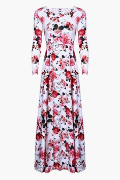 Red Roses Fit + Flare Long Sleeved Maxi Dress
