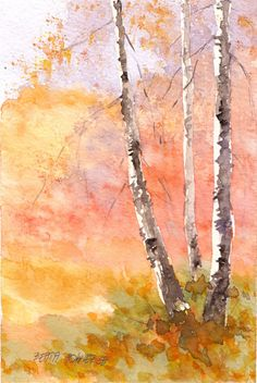 Original Watercolor Painting, Birches, shipping FREE