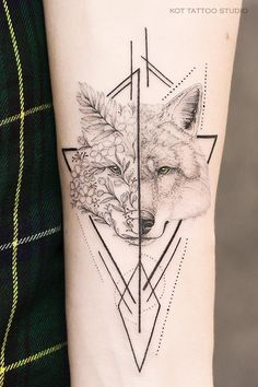 Black and white tattoo with flowers, wolf and geometry on arm. - Graphic tattoo design made on arm. I really enjoy mixing dotwork, tiny lines and geometry 😻 Also - Tribal Wolf Tattoo, Fox Tattoo, Wolf Tattoos, Forearm Tattoos, Body Art Tattoos, New Tattoos, Tiny Tattoo, Sleeve Tattoos For Women, Tattoos For Women Small