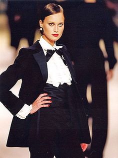 Le Smoking:   the women's tuxedo suit created by Yves Saint Laurent (1966) ...  masculine, minimalist, magic