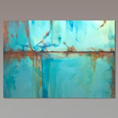 Abstract painting Turquoise Blue Green Orange moderne by Artoosh