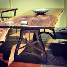 Handcrafted Vintage industrial steampunk metal legs, live edge Black Walnut wood slab table top.  Turquoise inlay