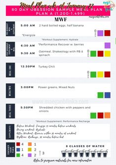 Example 80 Day Obsession Meal Plan - Plan A #nutritionrecipesmealplanning