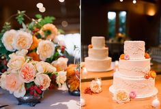Lauren, apricot and pink flowers in silver holder