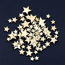 100 Pcs Formato de Estrela Mista Botões De Madeira Botão Decoração Roupas DIY…