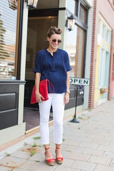 americana, blue, red, red heels, white, white jeans, wood watch