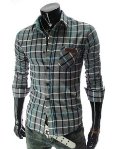 Slim fit Leather Patched Pocket Long Sleeve Checker Shirt