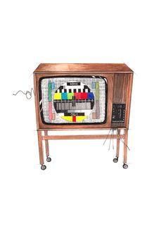 """Fargefjernsyn"" (Norwegian color TV)  Copyright: Emmeselle.no   illustration by Mona Stenseth Larsen"