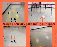 Removing the Stumbling Block: Sensory Break Path - Designing the Right Path to Fit Your Space Sensory Tubs, Sensory Wall, Sensory Rooms, Sensory Bottles, Sensory Boards, Gross Motor Activities, Sensory Activities, Sensory Pathways, Path Design