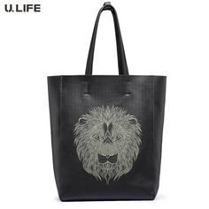 299.98$  Buy now - http://ali5ng.worldwells.pw/go.php?t=32597558568 - U.LIFE - New Lion Totems Gurantted Quality Simple Elegant Personized Genuine Leather Soft Men's Handbags Casual Totes J50