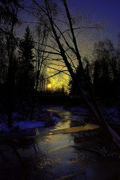 Alaska Anchorage Campbell Creek Sunset