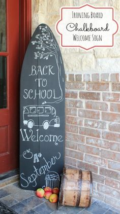 Antique Ironing Board Turned Chalkboard Welcome Sign
