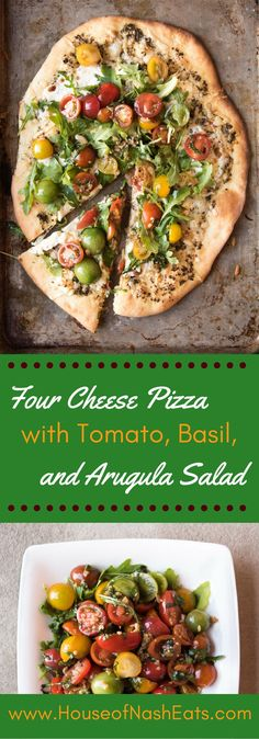 Pizza night is ON with this homemade four cheese pizza with tomato basil arugula…