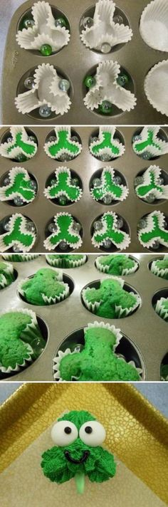 Shamrock Cupcakes recipe and step-by-step decorating instructions that are just cute as all getout! Patrick's Day desserts, cupcakes, shamrock cupcakes using marbles in cupcake tins to make that green clover shape. Holiday Treats, Holiday Recipes, Yummy Treats, Sweet Treats, Cute Desserts, Dessert Recipes, Dessert Food, Chef Recipes, Cupcake Recipes