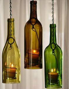 DIY Wine Bottle Candles are bottle crafts that you could make out of empty bottles you have. Easy DIY instructions on how to make your own Wine Bottle Candles, Wine Bottle Art, Bottle Lights, Wine Bottles Decor, Crafts With Wine Bottles, Beer Bottle, Glass Bottle Crafts, Glass Bottles, Empty Bottles