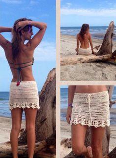 The item was made of cotton yarn. Summer Skirts, Mini Skirts, Boho Shorts, Lace Shorts, Maternity Dress Outfits, Chevron Crochet, Crochet One Piece, Crochet Skirts, Beach Skirt