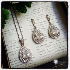Bridal Jewelry Set, Wedding Jewelry Set, Mother of the Bride/Groom, Wedding Party Jewelry, Teardrop Jewelry Set $75