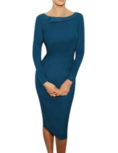 Senfloco Women's Vintage Casual Office Business Party Pencil Dress Long Sleeve *** Want to know more, click on the image.