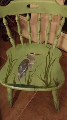 Hand painted blue heron