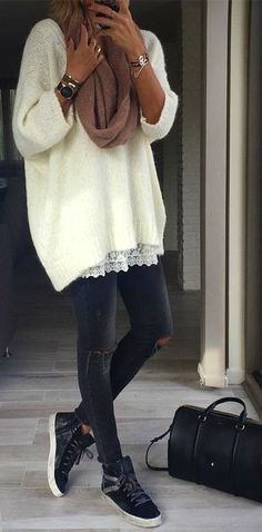 Outfit Ideas To Try This Fall · White Sweater // Ripped Skinny Jeans // Black Sneackers Big Fashion, Look Fashion, Fashion Outfits, Womens Fashion, Fashion Boots, Fall Fashion, Fashion Brands, Fashion Online, Mode Outfits