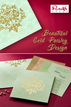 This invitation card is made out of fine quality card paper board with matching mailing envelope. Card front has beautiful Gold Paisley design with similar imprint all over. Card has 3 different color insert option inside.