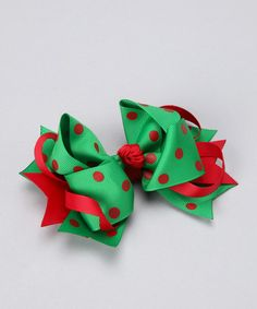 Take a look at this Green & Red Dot Bow Clip by Bubbly Bows on #zulily today!