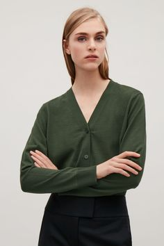 COS image 13 of Merino-wool cardigan  in Olive Green COS 201709