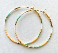 Boho Beaded Hoop Earrings Large Gold Plated Beaded Hoops   Etsy