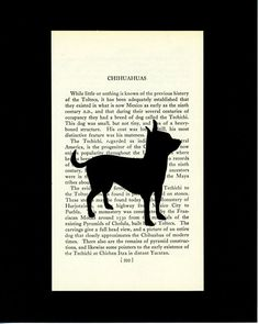 Chihuahua  Handcut Silhouette Mounted on Vintage by elizaBcrafts, $15.00